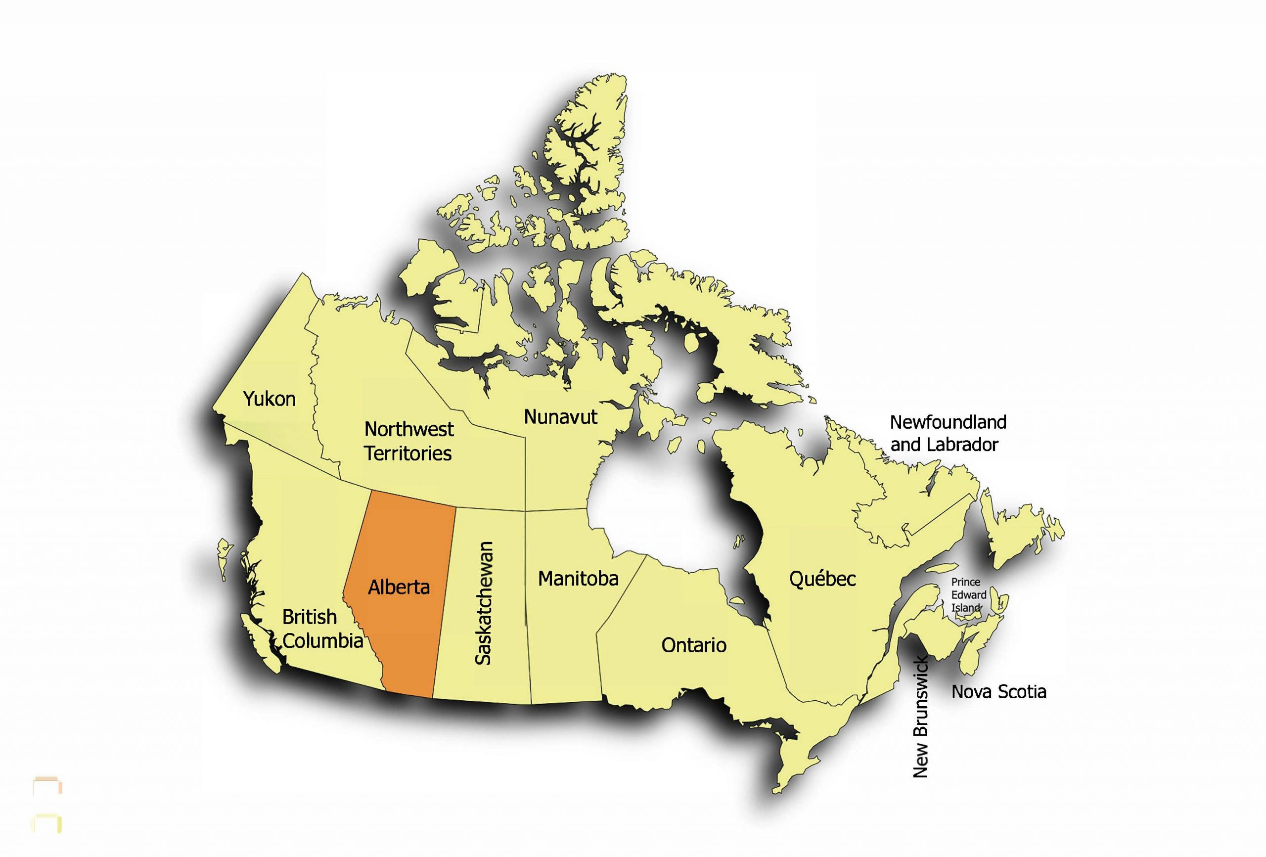 The map of Canada in yellow with the Province of Alberta highlighted in Orange